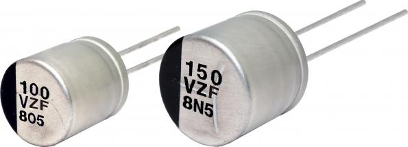 High power through hole conductive polymer hybrid capacitors reach 150°C
